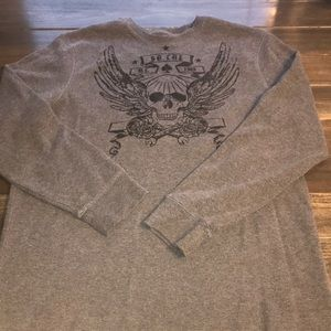 Me s Old Navy Grey Skull Thermal Long Sleeve Shirt